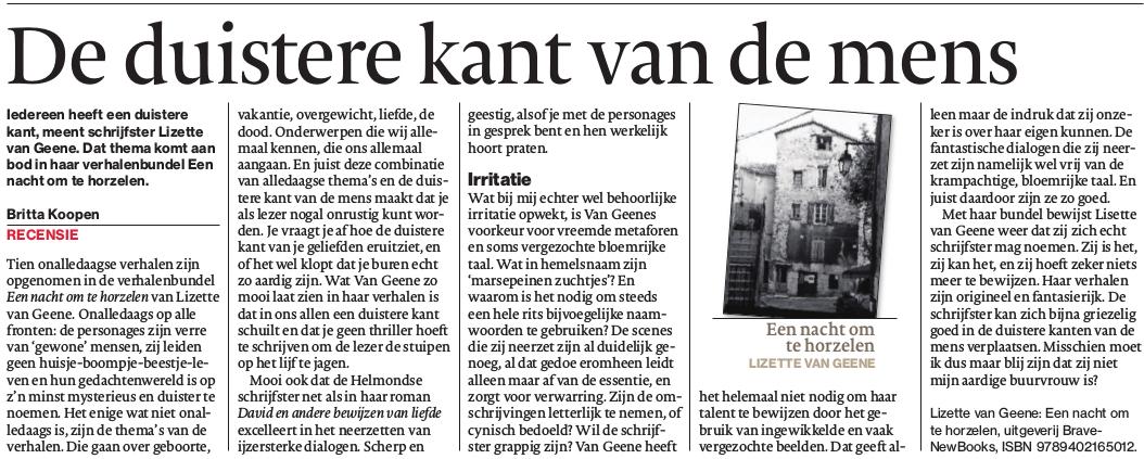 Recensie verhalenbundel Eindhovens Dagblad 11 september 2017