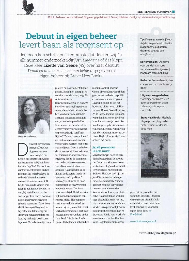 Interview met Lizette van Geene in Schrijven Magazine, Jaargang 18, nummer 3, juni - juli 2014
