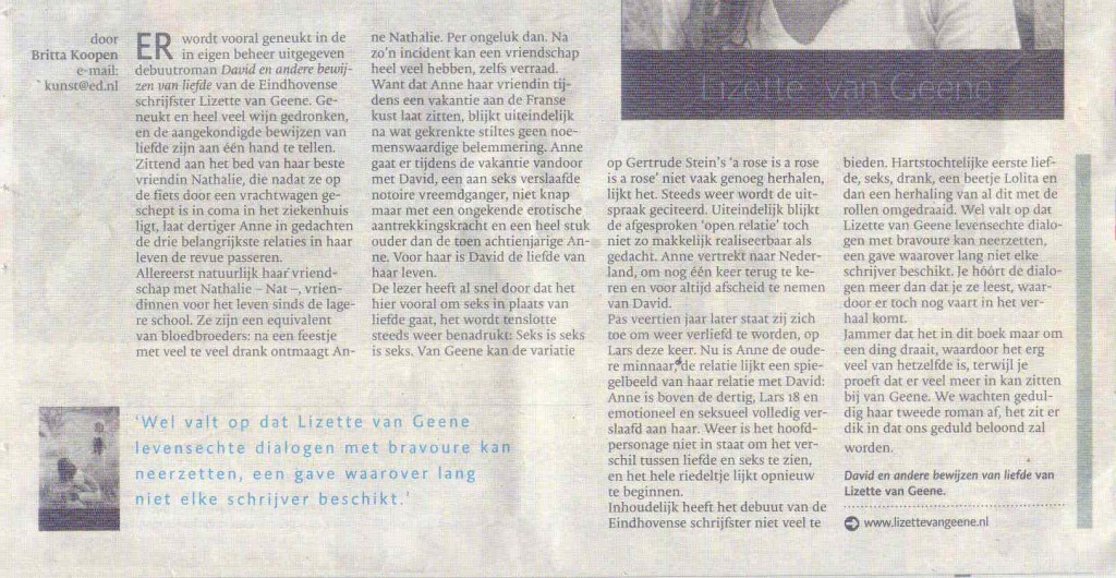 Recensie Eindhovens Dagblad 23 01 2014 David en andere bewijzen van liefde